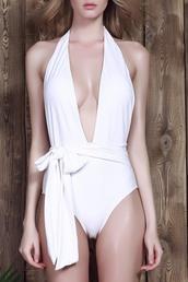 swimwear,dressfo,white sweater,white swimwear,plunge v neck,summer,sexy