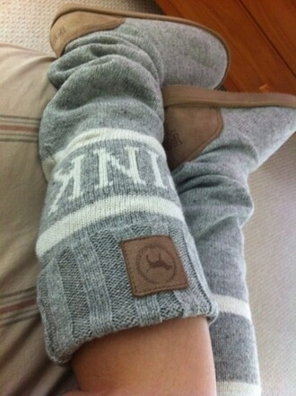 shoes brown shoes grey white sweater beige wool victoria's secret mukluk socks pink knitted shoes