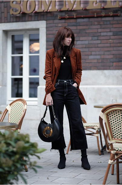 jacket tumblr blazer corduroy brown blazer denim jeans blue jeans cropped jeans top black top boots black boots bag