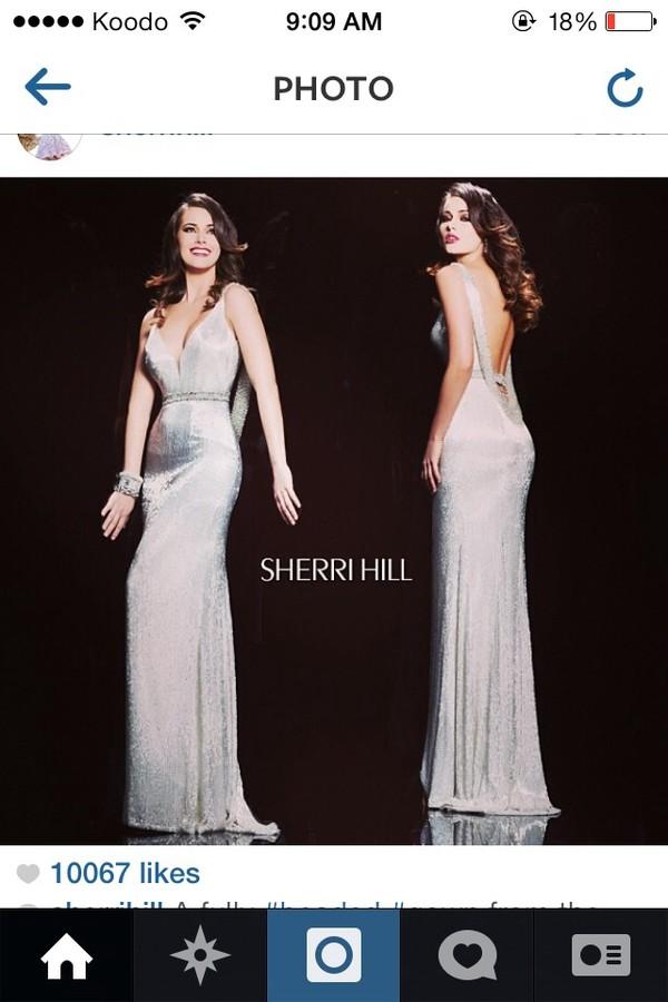 dress silver dress prom dress
