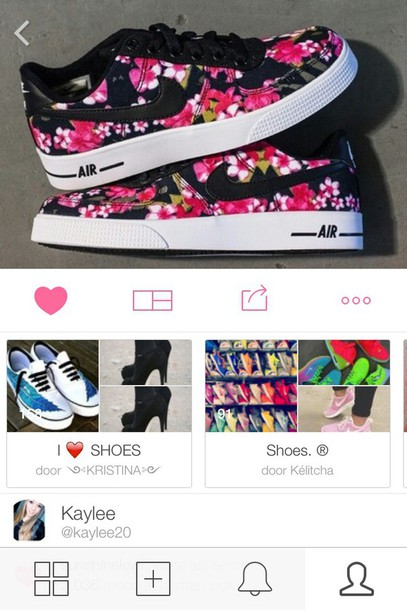 shoes nike air flowers fashion