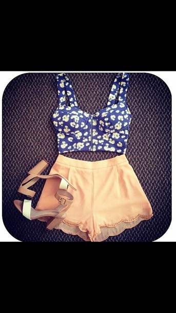 shorts high heels orange zips infront mini shorts