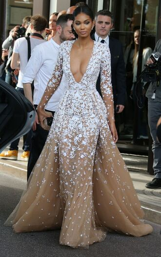 dress lace white chanel iman