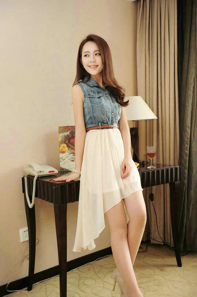 Elegant New Fashion Womens Denim Skirt Thin Waist Chiffon Sleeveless Dresses | eBay