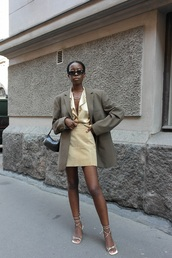 skirt,suede skirt,shirt,grey blazer,mid heel sandals,sunglasses