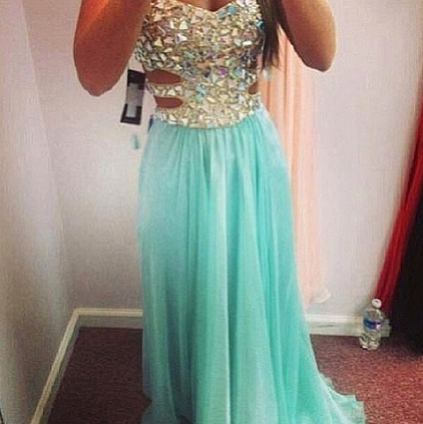 dress prom dress mint rhinestones
