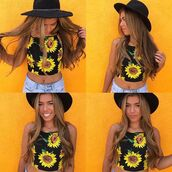 top,motel rocks,crop tops,fashion,sunflower,sunflower op,sunflower top,floral top,flower top,flower crop,vintage,fashioncute,trendy,bellexo,summer,spring,summer outfits,vacation outfit,vintage style,vintage inspired,tumblr outfit,tumblr,lovely pepa