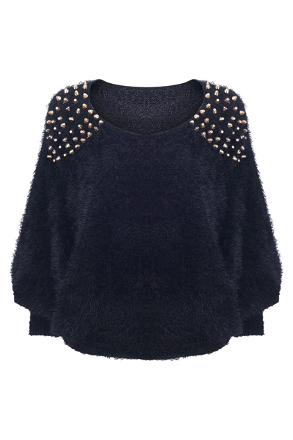 Rivets detailed black fluffy jumper, the latest street fashion