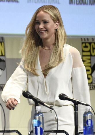 jumpsuit jennifer lawrence white blouse comic con celebrities in white