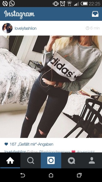 sweater black sweater grey sweater adidas sweater adidas sport