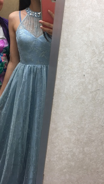 332502e902c dress light blue prom prom dress halter dress sparkles halter dress long dress  glitter glitter dress