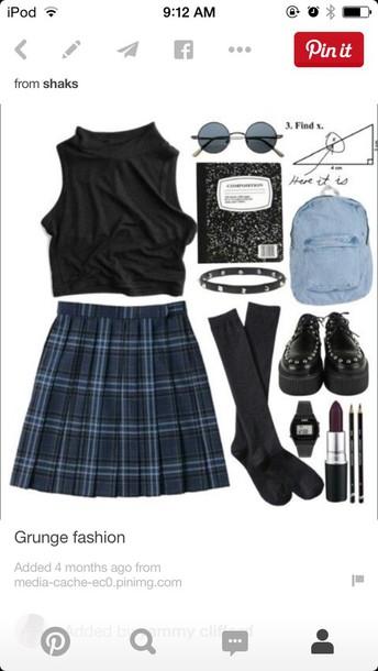 shirt grunge skirt