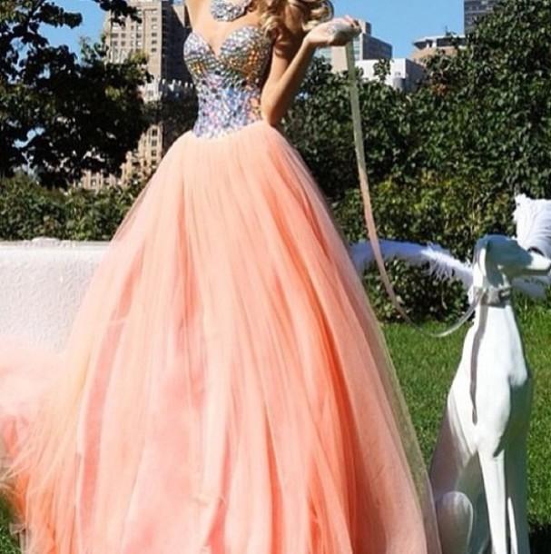 dress, gown, sparkle, prom dress, fancy dress, glitter, pink, orange ...