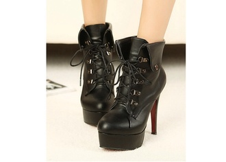 shoes black heels boots lace up rivets