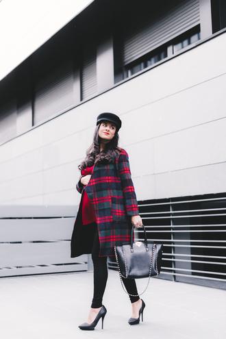 crimenes de la moda blogger coat hat blouse pants shoes bag fall outfits winter outfits handbag plaid coat