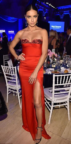 dress gown prom dress adriana lima model slit dress long prom dress sandals bustier dress