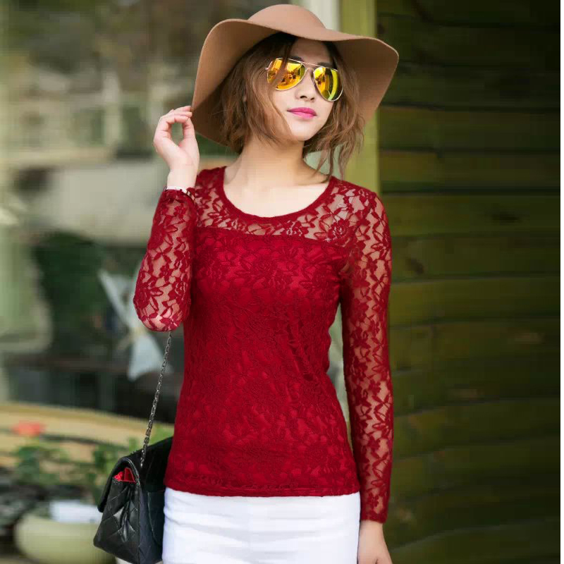 Women Sheer Long Sleeve Lace Top Crewneck Blouse Crochet T-Shirt 5 ...