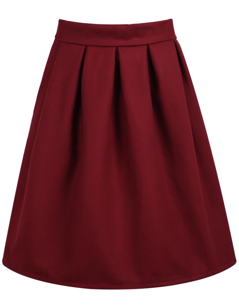 adec8a2646 Red High Waist Pleated Skirt -SheIn(Sheinside)