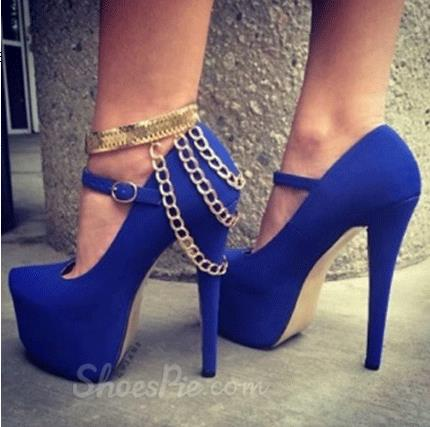 Sexy Blue Suede Platform Metal Ankle Strap & Chain Decoration High Heel Shoes