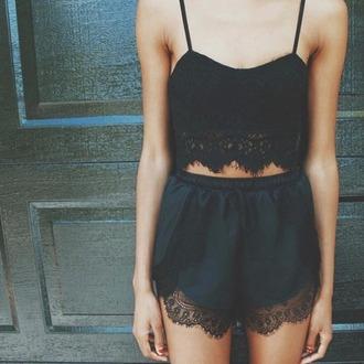 romper black lace dentelle cute short crop tops