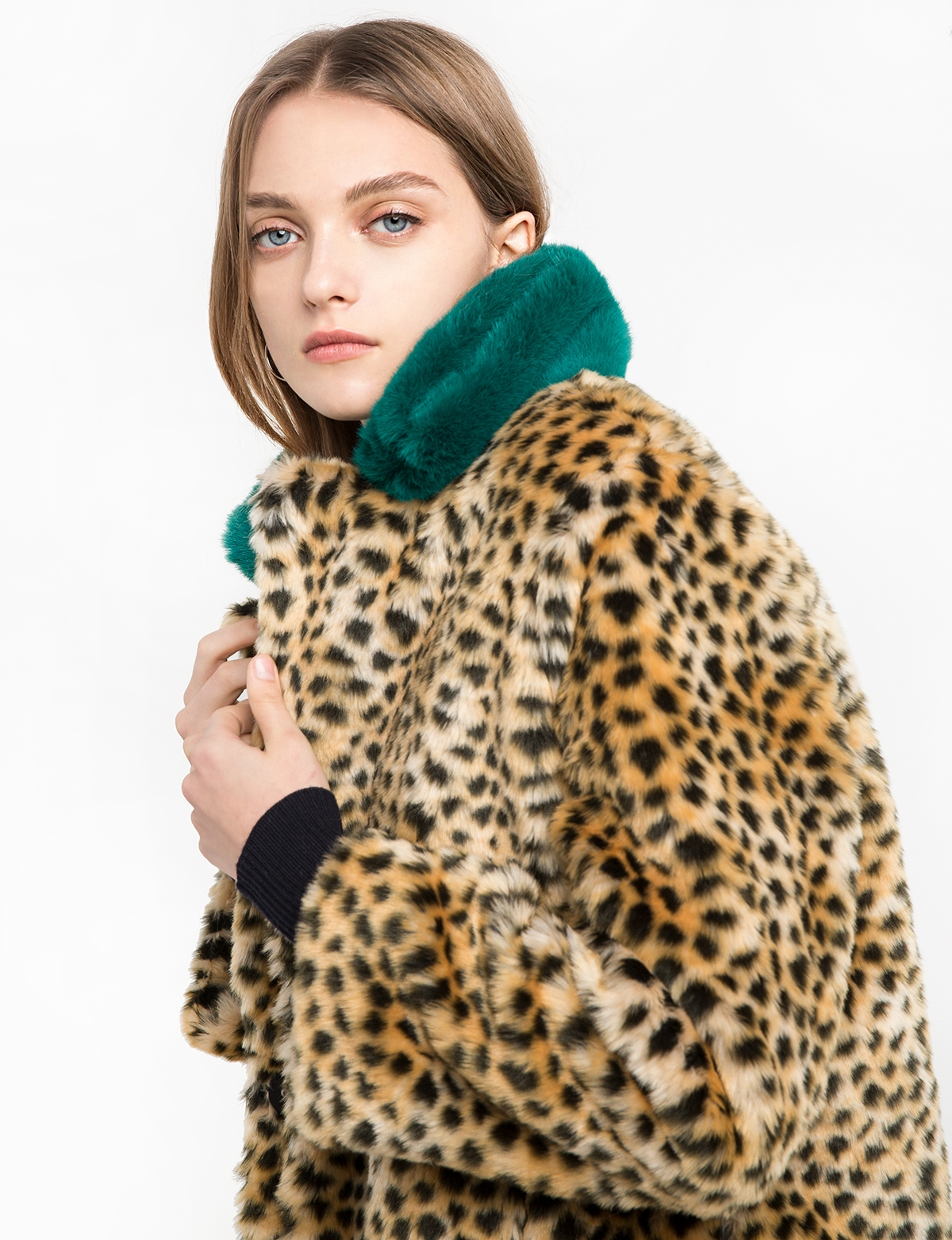 Collar Leopard Faux Fur Coat