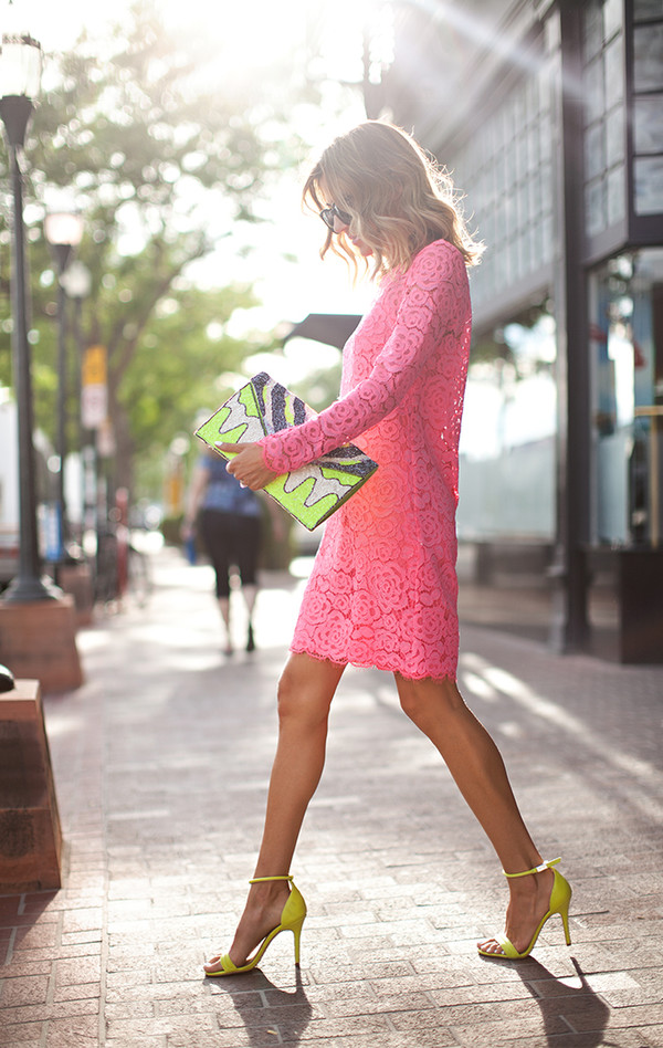 hello fashion shoes bag sunglasses jacket jeans jewels pink blogger summer outfits pink dress pink lace dress lace dress yellow heels high heels classy