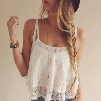 blouse top hair braid blonde hair wooden bracelets vintage white singlet lace top spagetti straps white lace skirt white lace top
