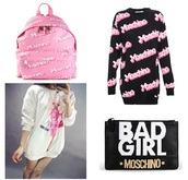 vidavelvet,moschino,sweater,hoodie,barbie,outfit,pink,black,backpack,clutch,bag,style