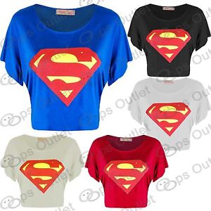 Womens Batwing Cap Sleeves Superman Ladies T Shirt Crop Top Vest Size 8 10 12 14 | eBay