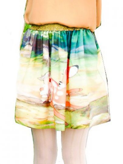 Green Animal Print Cartoon Elastic Waist Chiffon Dress - Sheinside.com