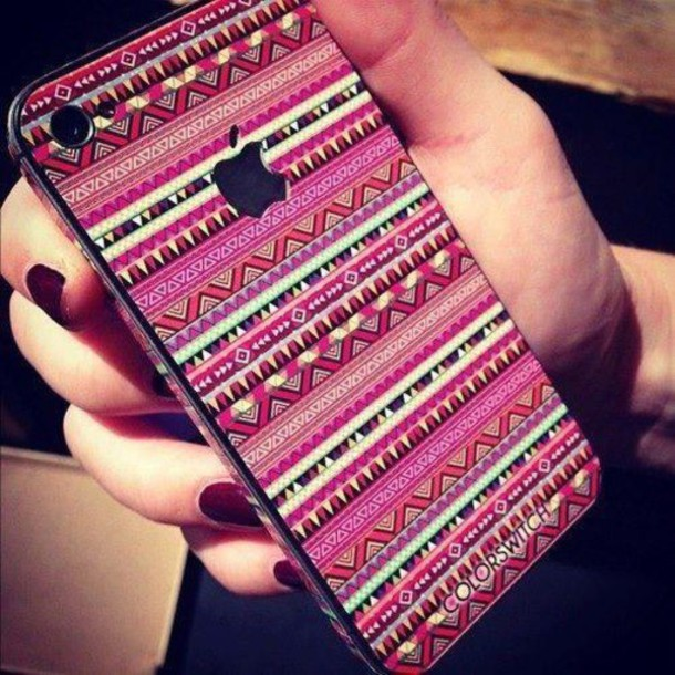jewels, aztec, phone, phone cover, stickers, iphone, pink, iphone ...