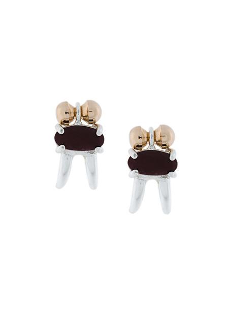 women earrings gold silver grey copper red metallic jewels