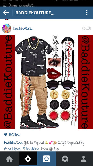 outfit outfit idea blaaaze baddiekouture_ jewels t-shirt dope outfit ideas cargo