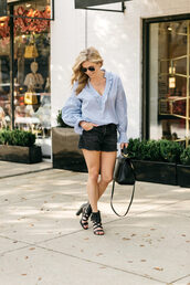 onesmallblonde,blogger,top,blouse,shorts,bag,shoes