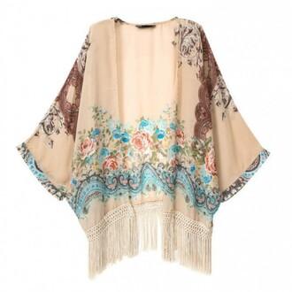 cardigan brenda-shop kimono floral pattern apricot cape boho bohemian