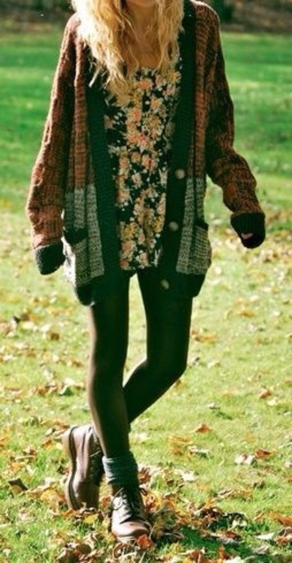 sweater dress shoes fall outfits long cardigan boho vintage floral dress combat boots cardigan multicolor hipster winter sweater summer outfits indie grunge boyfriend sweater baggy grey pockets clothes fall outfits color/pattern trendy cozy warm oversized cardigan shirt