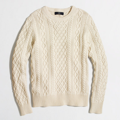 cable crewneck sweater