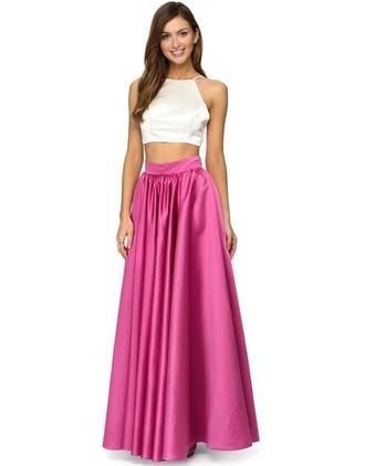 silk halter neck high waisted skirt pleated skirt pleated boho boho chic girly festival summer outfits beach white crop tops pink skirt skirt