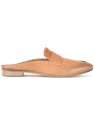 horse women mules leather brown shoes
