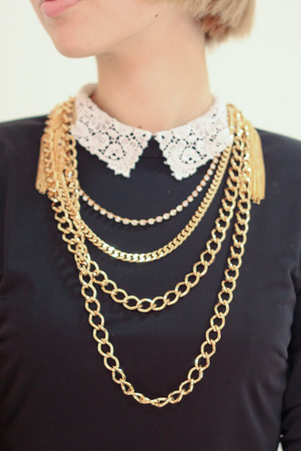 blouse jewelry jewels gold chain multi black blouse