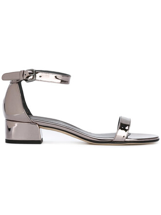 high women sandals leather grey metallic shoes