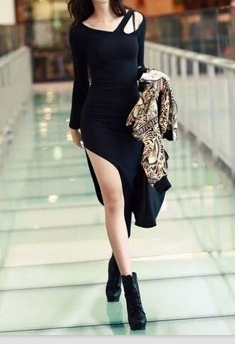 dress slit dress bodycon dress little black dress black dress cut-out dress side split midi