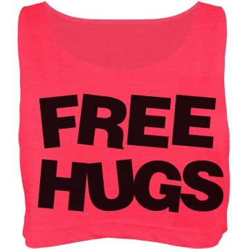 Free Hugs: Custom Misses American Apparel Neon Oversized Crop Top Tank Top - Customized Girl