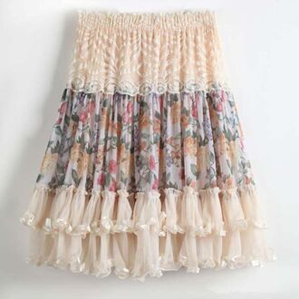 skirt lace frill skirt floral lace skirt knee length skirt kfashion ulzzang