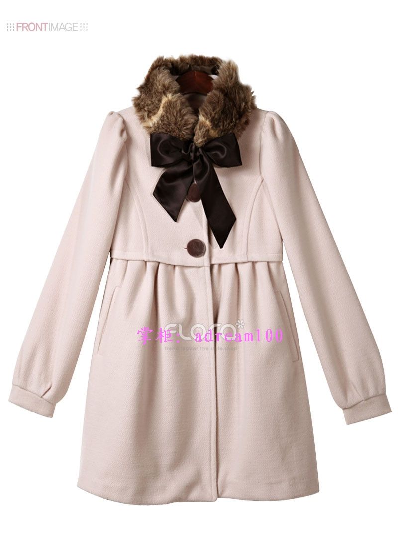 USD J42 Women Gossip Girl Bowknot Fur Collar Overcoat Outwear Coat Jacket S~XL | eBay