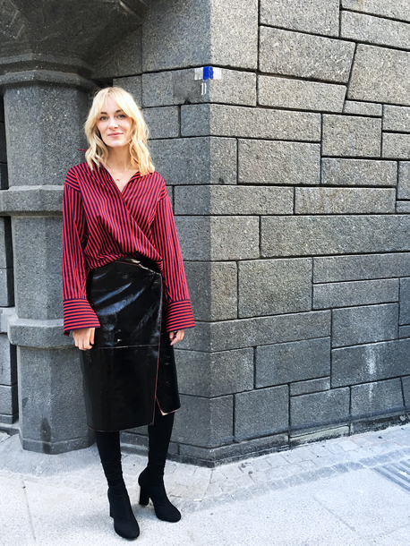 da165c46c skirt, tumblr, shirt, red shirt, stripes, striped shirt, midi skirt ...