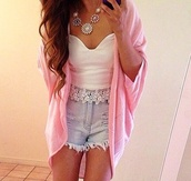 coat,shorts,tank top,jewels,sweater,heart,pink,hippie,sweet,baby pink,cute,trendy,short,blue,white,jewelry,top,shirt,pattern,comfy,comfysweater,t-shirt,lace,crop tops,cardigan,mid-length,High waisted shorts,summer outfits,clothes,ariana granda,flowy,necklace,bustier,white top,white crop tops,crop,lace top