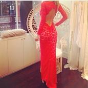 dress,red,long,evening dress