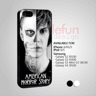 jewels iphone 4 case black white devil tate skeleton make-up grey tv show american horror story