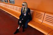 atlantic pacific,blogger,jewels,dress,shoes,coat,blue coat,black dress,ankle boots
